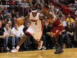 Cleveland Cavaliers  v Miami Heat: LeBron James and Daniel Gibson
