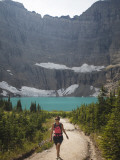 Girl Enjoys a Hike to Iceberg Lake Trail in Glacier Np  Mt