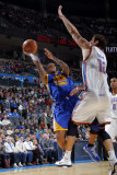 Golden State Warriors v Oklahoma City Thunder: Monta Ellis and Nenad Krstic