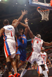 New York Knicks v Detroit Pistons: Amar'e Stoudemire  Tracy McGrady and Ben Wallace