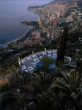 A Swimming Pool Above Monaco and its Harbor
