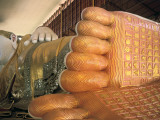 A Painted Statue of a Reclining Buddha
