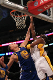 Golden State Warriors v Los Angeles Lakers: Kobe Bryant and Andris Biedrins