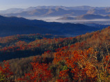Fog Lying in Mountain Valleys in the Early Morning in Autumn