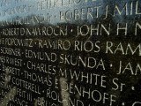 Close View of Names Etched into the Vietnam Memorial
