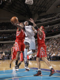 Houston Rockets v Dallas Mavericks: Jason Terry  Jordan Hill and Brad Miller