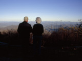 An Old Couple Taking in a Scenic View from Wayah Bald at Dusk