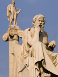 Statues of Socrates and Apollo in Front of the Academy of Athens
