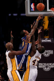 Golden State Warriors v Los Angeles Lakers: Monta Ellis  Derrick Caracter and Lamar Odom