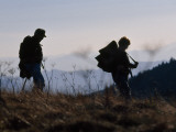Silhouetted Hikers at Twilight on the Appalachian Trail