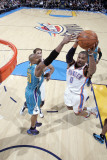 New Orleans Hornets v Oklahoma City Thunder: Russell Westbrook and David West