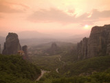 The Roussanou Monastery on One of the Meteora Peaks and the Valley