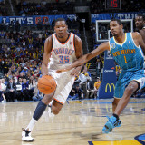 New Orleans Hornets v Oklahoma City Thunder: Kevin Durant and Trevor Ariza