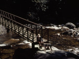 Woman and Dog Resting at a Footbridge across the Whitewater River