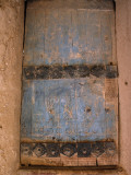 A Wooden Door  Carved and Painted Blue