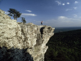 A Solitary Hiker Looks over the Blue Ridge Mountains from Hanging Rock, North Carolina Papier Photo par Raymond Gehman