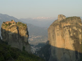 The Agia Trias Monastery on One of the Meteora Peaks and the Valley