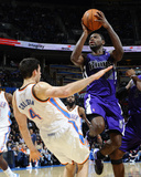 Sacramento Kings v Oklahoma City Thunder: Nick Collison and Tyreke Evans
