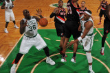 Portland Trail Blazers v Boston Celtics: Paul Pierce  Shaquille O'Neal and Marcus Camby