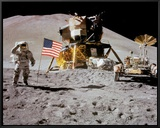 NASA - Astronaut Rover Flag On Moon  - Spaceshots