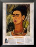 Femmes artistes remarquables - Frida Kahlo - Autoportrait au singe Reproduction laminée et encadrée par Frida Kahlo