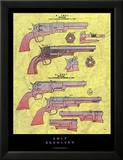 Revolver Colt Reproduction laminée et encadrée