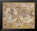 Antique Map, Globe Terrestre, 1690 Reproduction laminée et encadrée par Vincenzo Coronelli
