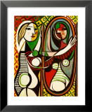 Jeune fille devant un miroir, 1932 Reproduction laminée et encadrée par Pablo Picasso