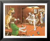 Jeu de billard entre chiens Reproduction laminée et encadrée par Arthur Sarnoff
