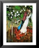 Les trois bougies Reproduction laminée et encadrée par Marc Chagall