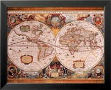 Antique Map  Geographica  c1630
