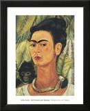Autoportrait au singe, 1938 Reproduction laminée et encadrée par Frida Kahlo