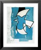 L'oiseau bleu et gris Reproduction laminée et encadrée par Georges Braque