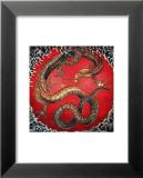 Dragon (detail) Reproduction laminée et encadrée par Katsushika Hokusai