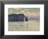 La falaise d'Etretat, soleil couchant, 1883 Reproduction laminée et encadrée par Claude Monet