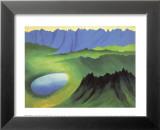 Montagnes et lac Reproduction laminée et encadrée par Georgia O'Keeffe