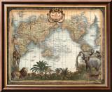 Carte du monde Reproduction laminée et encadrée