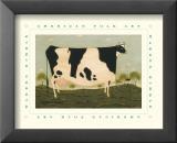 American Cow Reproduction laminée et encadrée par Warren Kimble