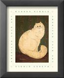White Persian Cat Reproduction laminée et encadrée par Warren Kimble