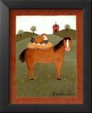 Horse with Hen Reproduction laminée et encadrée par Valerie Wenk