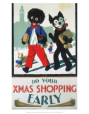 Do Your Xmas Shopping Early  Golliwog and Bulldog with Toy Train and Parcels