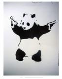 Pandémonium: pochoir noir et blanc, avec panda et revolvers Reproduction d'art