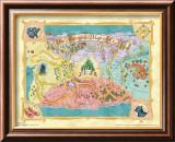 The Wizard of Oz: Glitter Map Reproduction laminée et encadrée