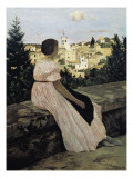 The Pink Dress  or View of Castelnau-Le-Lez