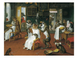 Barber&#39;s Shop with Monkeys and Cats