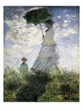 La Promenade, la femme à l'ombrelle (Madame Monet et son fils) Reproduction d'art par Claude Monet