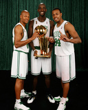 Ray Allen  Kevin Garnett  and Paul Pierce of the Boston Celtics: Game Six NBA Finals: June 17  2008