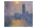 The Houses of Parliament  London  with the Sun Breaking Through the Fog