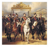Louis-Philippe and His Sons on Horseback in Front of the Bar of the Chateau De Versailles