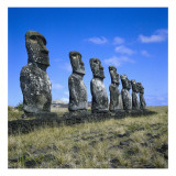 Maoi Statues of Ahu Akivi Temple  Megalithic Busts Carved from Volcanic Rock